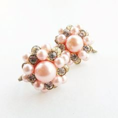 c090d023aa95d Pink Bead and Clear Rhinestone Screw on Earrings by LaMadeleine