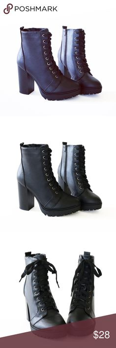 """balboa lace up black booties ankle boots Style              : Booties Heel Height   : 4"""" Main Color     : Black Shaft Height   : Approx. 6 1/4"""" Main Material : Man-made material Fit                   : True to size Lace up Stacked heel Side zip The shoes' bottom is designed preventing slipperiness rubber. Soda Shoes Ankle Boots & Booties"""