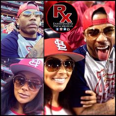 Shantel Jackson and Nelly at a St. Louis Cardinals game