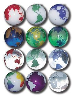 22 mm Rainbow Earth Marbles - Pack of 50 Assorted Colors .9 Inch Glass Marbles Colors and Styles Vary These beautiful glass marbles come in more than 12 different styles of globes. Some are Clear Glas