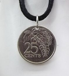 Flower Coin Necklace Trinidad And Tobago 25 by AutumnWindsJewelry