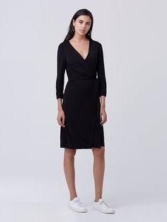 New Julian Two Matte Jersey Wrap Dress in Black