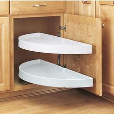 Rev-A-Shelf ''Traditional'' Half-Moon Pivot-Out 2-Shelf Polymer Lazy Susans For Kitchen Blind Corner Cabinet