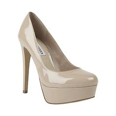 Why are all the neutral colored heels I find and love $100?  UGH.  DEMANDD FAWN PATENT women's dress high platform - Steve Madden