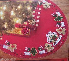 "Bucilla Christmas Felt Tree Skirt Kit ""gingerbread House"" for sale online Mickey Mouse Christmas Tree, Disney Christmas Decorations, Felt Christmas, Xmas Tree, Christmas Crafts, Christmas Ornaments, Holiday Decor, Felt Tree, 3d Home"