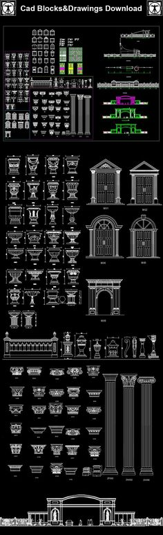 DWG files are compatible back to AutoCAD CAD drawings are availa.DWG files a Neoclassical Design, Neoclassical Interior, Neoclassical Architecture, Large Backyard Landscaping, Modern Landscaping, Interior Architecture Drawing, Architecture Details, Antique Living Rooms, Modern Landscape Design