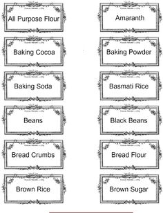 PRINTABLE Pantry Labels    Published by JES For more information, visit: http://strangersandpilgrimsonearth.blogspot.com/2013/04/printable-pantry-labels-expanded.html