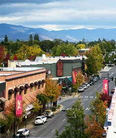 The Cascade foothills frame East Main Street, in Ashland, Oregon.
