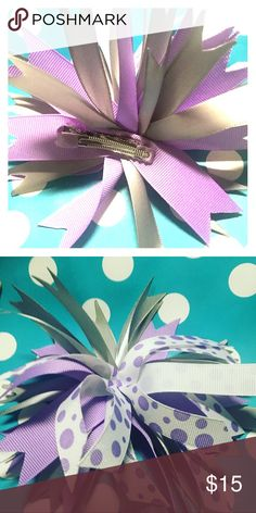 Children's Hairbows Hairbow spikes perfect for ponytails. They have the alligator clips attached. The colors are purple, white and gray. Sunflower Bay Kids Accessories Hair Accessories