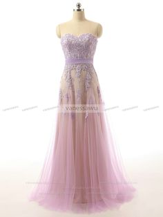 Vanessawu — Sweetheart Prom Dress with Ribbon Belt, Light Purple Prom Dress with Floral Lace Bodice, #020101641