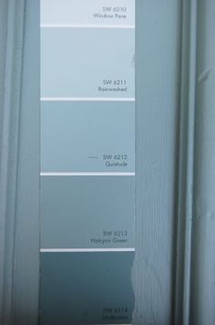 Sherwin Williams - Halcyon Green for bedroom, rain washed for bathroom Interior Paint Colors, Paint Colors For Home, House Colors, Home Interior Design, Painting Pine Furniture, Robins Egg Blue Paint, Rainwashed Sherwin Williams, House Color Palettes, Paint Palettes