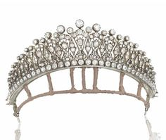A LATE 19TH CENTURY DIAMOND TIARA c1890 with later back chain for wearing as a necklace. (Christie's)