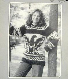 "Cowichan Style Sweater Thunderbird Design White Buffalo Wool Pullover Knitting Pattern PDF plus Bonus ""Design Your Own"" Charts Sale Knitting Charts, Knitting Patterns, Knitting Ideas, Cowichan Sweater, Roving Yarn, Fair Isle Knitting, Sleeve Designs, Design Your Own, Knitwear"