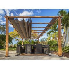 Verona Aluminum Pergola With the look of Canadian Wood with Cocoa Canopy, Brown