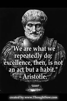"""""""We are what we repeatedly do. Excellence, then, is not an act, but a habit."""" ~ Aristotle"""