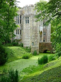 Boarstall Tower ruin - a 14th-century moated gatehouse located in Boarstall Buckinghamshire ...