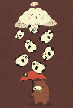 Its raining pandas! | Illustration by Zwolle