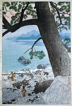 Calm Morning at Ajiro Promontory, Izu, by Shiro Kasamatsu, 1933 -- See also at: http://roningallery.com/art/woodblock-print/shiro-kasamatsu-1898-8211-1991/morning-at-izu/