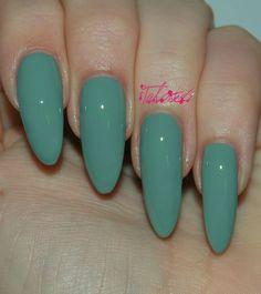 Models Own 'Grace Green' nail varnish review with swatches. Sage green nails. Lime Green Nails, Green Nail Art, Emerald Nails, Almond Shape Nails, Nail Games, Nail Art Diy, Nail Manicure, Nail Polish, Nail Inspo