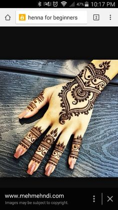 Latest new easy and simple Arabic Mehndi Designs for full hands for beginners, for legs and bridals. Stunning Arabic Mehndi Designs Images for inspiration. Henna Tattoo Designs, Henna Tattoos, Mehndi Tattoo, Diy Tattoo, Mandala Tattoo, Designs Mehndi, Flower Tattoos, Tribal Tattoos, Tattoo Arm