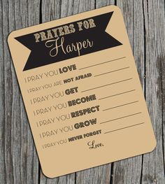 Custom Prayers or Wishes for Baby for Shower Activity Game on Kraft Brown Set of 24