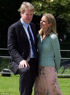 Earl Spencer with then-wife Caroline during the unveiling of a memorial fountain