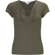 Miss Selfridge Lace Up T-shirt, Khaki (7.966 BHD) ❤ liked on Polyvore featuring tops, t-shirts, lace up front top, v neck tee, short sleeve tee, v-neck top and khaki t shirt