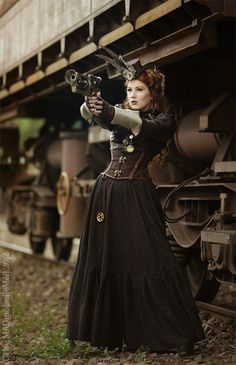 my-ear-trumpet: Huntress of Steammonsters II by *MADmoiselleMeli Model/styling/makeup/skirt/jaket/accessoires (Nerfgun -mod, fascinators and mini tophat): MADmoiselleMéli photo: Reiner Eisenbeis
