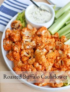 Roasted Buffalo Cauliflower Roasted Buffalo Cauliflower makes a nice appetizer or snack for game day that is lightened up and is sure to add a little kick to the party. Cauliflower is tossed in a spicy sauce and roasted in the oven until just crispy. Healthy Appetizers, Appetizers For Party, Appetizer Recipes, Healthy Snacks, Healthy Recipes, Healthy Football Food, Appetizer Ideas, Lunch Recipes, Delicious Recipes