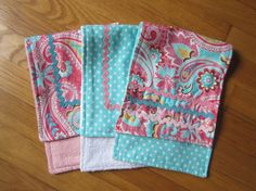 Baby Burp Cloth Set - Baby Girl, set of three turquoise and  pink paisley burp cloths