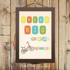 "13"" x 19"" Wall Art Print - Retro Bikes - Dream Big and Pop a Wheelie/Child Room Art"