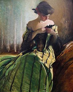 love the green in here...:)  John White Alexander, Study in Black and Green, 1906