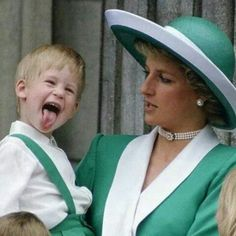 Lady Diana with her boy Prince Harry