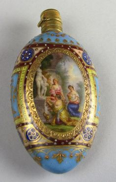 503: 19TH C. GLASS AND ENAMEL PERFUME BOTTLE : Lot 503