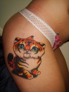 cute animal tattoos   Tiger Tattoo On Hip    Tattoo from Itattooz
