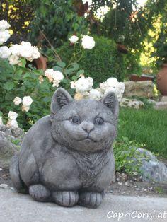 Steinkatze Antiksteinguss (winterfest) Garden Sculpture, Outdoor Decor, Home Decor, Cement, Stone Sculpture, Ponds, Winter Festival, Sculptures, Cats