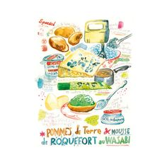 Japanese and French Recipe with wasabi and roquefort illustration print, 8X10, Fusion cuisine poster, Watercolor food, Kitchen art