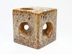 Cubical Fat Lava Hole Vase | Vest Keramiek | Dutch Ceramic | Modernist Pottery | Mid Century Modern Home Decor | 70s Art Pottery - pinned by pin4etsy.com