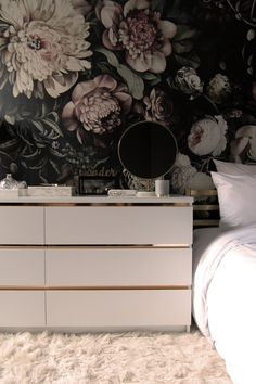 Fantastic IKEA Storage Hacks This gorgeous IKEA MALM hack is also incredibly simple — all it requires is a knife and a little bit of contact paper. Find the full instructions at Preciously Me. Ellie Cashman Wallpaper, Of Wallpaper, Ikea Storage, Storage Hacks, Floral Bedroom, Romantic Bedroom Decor, Cabinet Decor, Closet Bedroom, Ikea Hacks