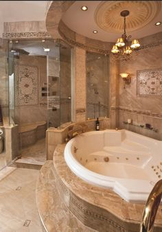 A marble #bathroom sets off the elegance of a room used to... well, bathe & such things. #HomeDesignTips