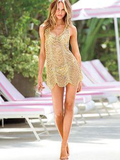 Victoria's Secret Beach Sexy Sequin Cover-up, Gold, Size S #VictoriasSecret #CoverUp