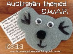 Australian Koala SWAP craft. Posted at: brownieguideleader.blogspot.com.au