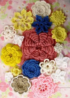 """A Nice Bunch of Flowers"" pattern at www.SkerinKnittingandCrochet.com"