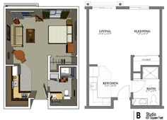Studio Apartment Floor Design college-park_studio-1530-3d-for-web | small house | pinterest