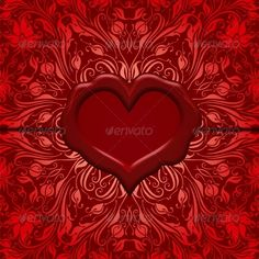 Valentines Day vector background. Ornate love letter with wax seal. Ornamental floral background. Vector eps10 illustration is fully editable. File contain transparency, radial gradient, mesh, blend.