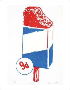 Retro Lolly Prints by Emily Turner Type Design, Logo Design, Red White Blue, Retro, Illustration, Outdoor Decor, Blog, Prints, Ice Cream