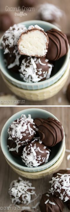 Coconut Cream Truffles: Spring is one of my favorite food times of the year because it's perfectly acceptable to add coconut to every single dessert. If you like coconut, these Coconut Cream Truffles are for you! Candy Recipes, Sweet Recipes, Dessert Recipes, Just Desserts, Delicious Desserts, Yummy Food, Gourmet Desserts, Plated Desserts, Healthy Food