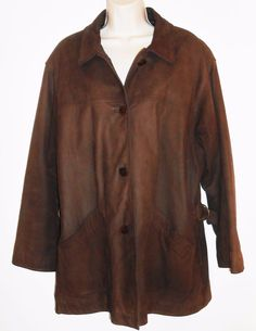 LL Bean L 12 14 Leather Car Coat Brown Jacket Insulated PrimaLoft Warm Large #LLBean #BasicCoat