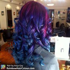 Hair by Anya Goy.  Visit the website/blog for tutorials, book and video on how to do bright hair: www.rainbowhaircolour.com  #brighthair #manicpanic #haircolour #rainbow #rainbowhair #mermaidians #modernsalon #anyagoy #hairporn #btcpics #hairinspo #unicorntribe #behindthechair #beauty #hair #hairdressermagic #instahair #color #haircolor #mermaidhair #fairytribe #fairyhair  #bluehair #purplehair #galaxyhair #oilslickhair