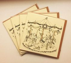 Christmas Carousel pack of 4 cards hand painted by IOillustration